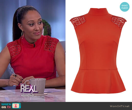 Shoulder Braid Top by Karen Millen worn by Tamera Mowry on The Real