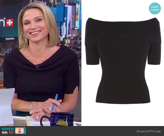 Short Sleeve Bardot Top by Karen Millen worn by Amy Robach on Good Morning America