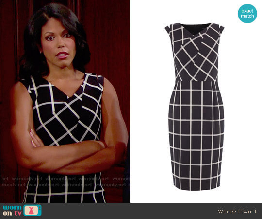 Karen Millen Windowpane Check Dress worn by Karla Mosley on The Bold & the Beautiful