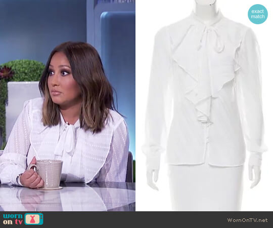 Ruffle Accented Top by Karen Millen worn by Adrienne Houghton on The Real