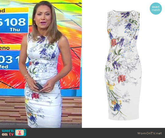 White & Floral Pencil Dress by Karen Millen worn by Ginger Zee on Good Morning America