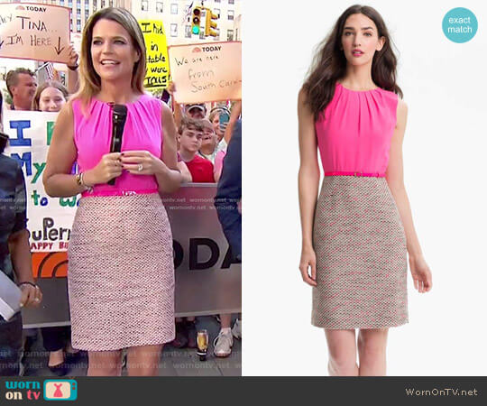 'Evelyn' Silk & Tweed Sheath Dress by Kate Spade worn by Savannah Guthrie  on Today