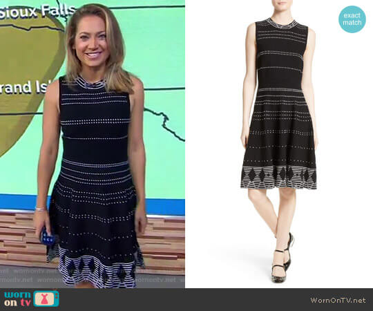 Texture Knit Fit & Flare Dress by Kate Spade worn by Ginger Zee on Good Morning America