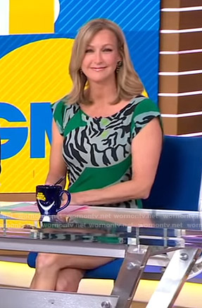 Lara's green tiger print dress on Good Morning America