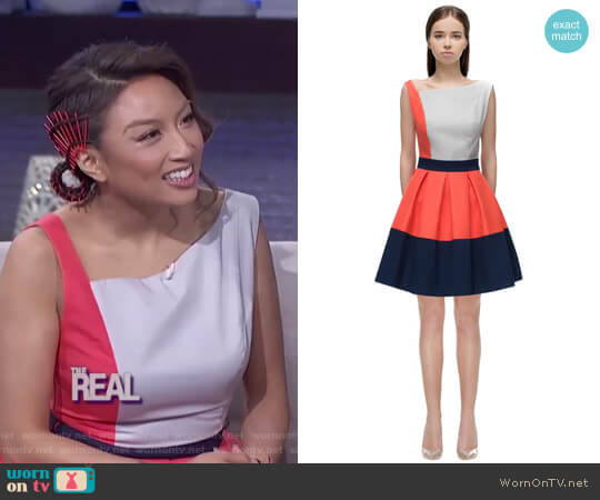 Asymmetric Shoulder Line Dress by Lattori worn by Jeannie Mai on The Real