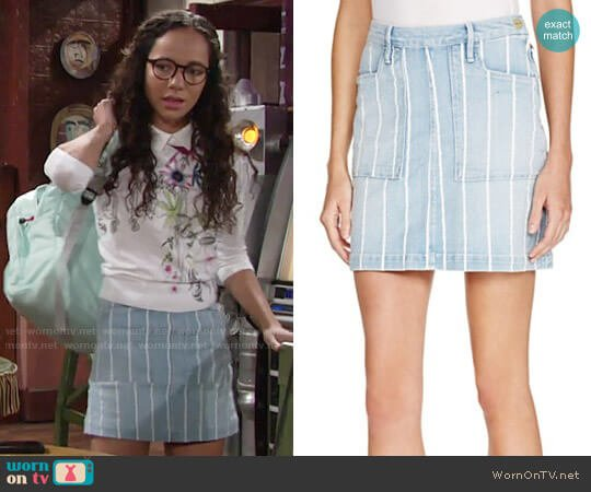 Frame Le Francoise Denim Skirt worn by Lexie Stevenson on The Young & the Restless