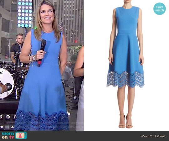 Guipure Lace Dress by Lela Rose worn by Savannah Guthrie (Savannah Guthrie) on Today