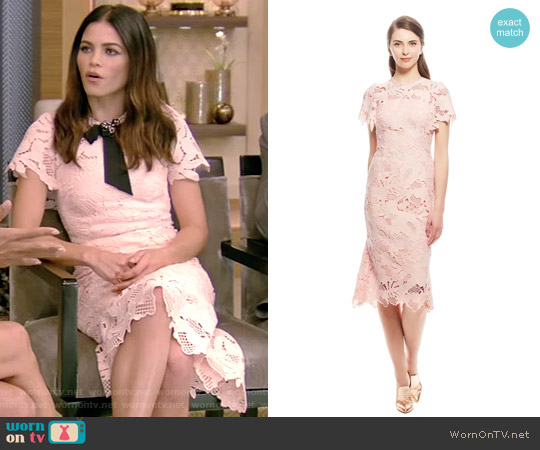 Leaf Guipure Lace Ruffle Skirt Dress by Lela Rose worn by Jenna Dewan Tatum on Live with Kelly and Ryan