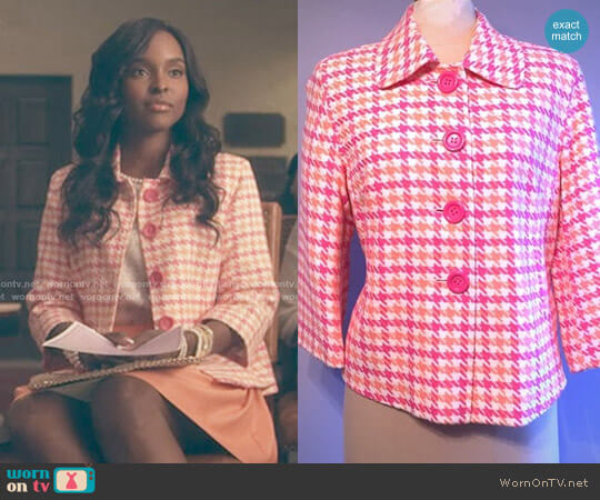 Pink and Orange Houndstooth Jacket by Lilly Pulitzer worn by Antoinette Robertson on Dear White People
