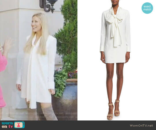 Long-Sleeve Tie-Neck Mini Dress by See by Chloe worn by Stephanie Hollman on The Real Housewives of Dallas