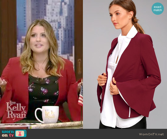 Night Visions Burgundy Cropped Blazer by Lulus worn by Sisanie on Live with Kelly and Ryan