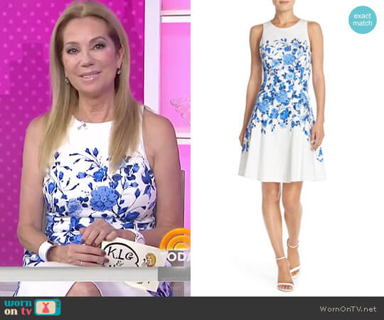 Floral Sateen Fit & Flare Dress by Maggy London worn by Kathie Lee Gifford on Today