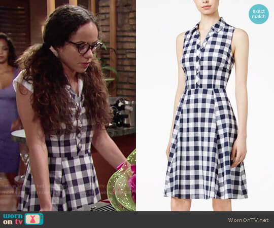 Maison Jules Maison Jules Cotton Gingham Shirtdress worn by Lexie Stevenson on The Young & the Restless
