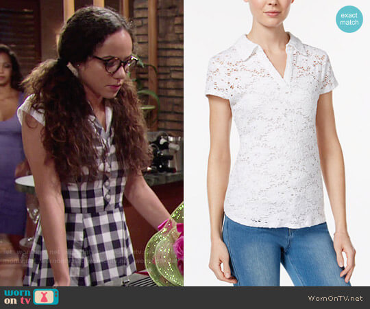 Maison Jules Crochet Lace Polo worn by Lexie Stevenson on The Young & the Restless