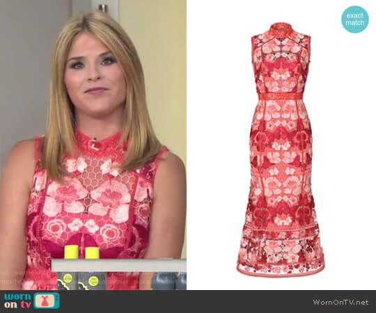 Butterfly Lace Midi Dress by Notte by Marchesa worn by Jenna Bush Hager on Today
