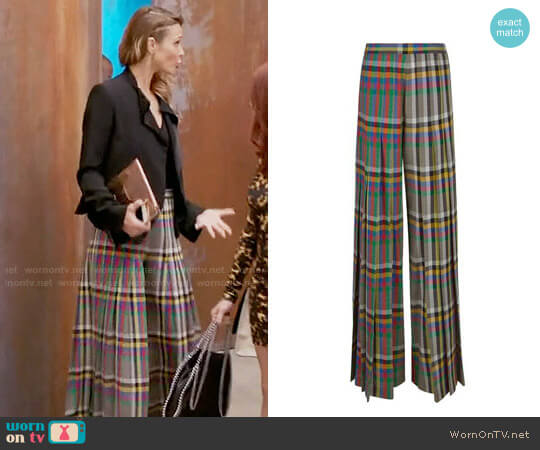 Marco de Vincenzo Multi Check Pleated High Waisted Trousers worn by Phoebe Wells (Beau Garrett) on GG2D