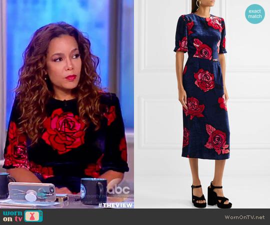 Freya floral-print velvet midi dress by Markus Lupfer worn by Sunny Hostin  on The View