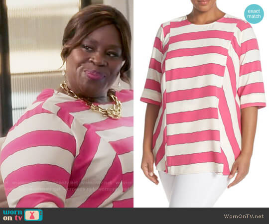 Melissa McCarthy Seven7 Stripe Blouse worn by Retta on GG2D