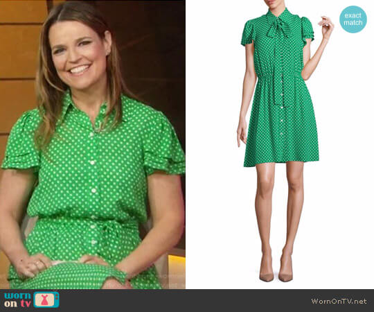 Polka Dot Silk Flutter-Sleeve Shirtdress by Michael Kors worn by Savannah Guthrie on Today