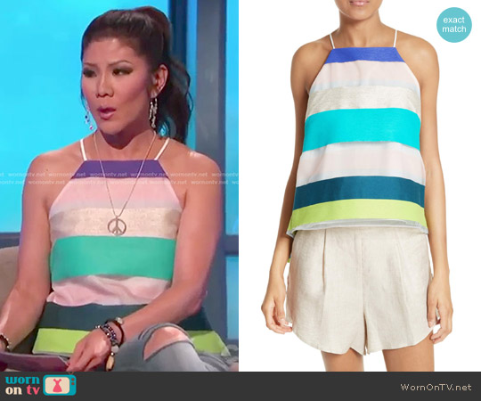 Stripe Trapeze Camisole by Milly worn by Julie Chen  on Big Brother
