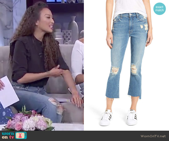 The Insider Step Hem Crop Bootcut Jeans by Mother worn by Jeannie Mai on The Real