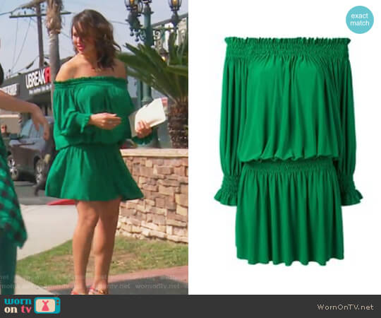 Peasant Dress by Norma Kamali worn by Kelly Dodd on The Real Housewives of Orange County
