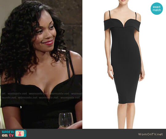 Nookie Pretty Belle Cold-Shoulder Dress worn by Hilary Curtis (Mishael Morgan) on The Young & the Restless