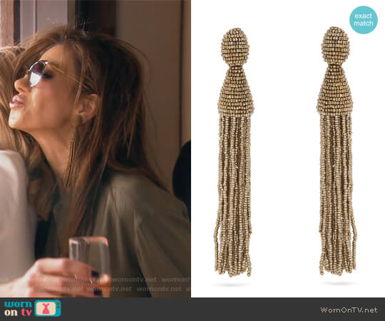 Bead-Embellished Tassel-drop Clip-on Earrings by Oscar de la Renta worn by Peggy Sulahian on The Real Housewives of Orange County