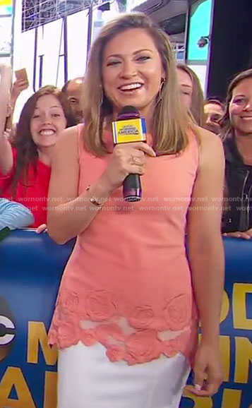 Ginger's orange rose embroidered top on Good Morning America