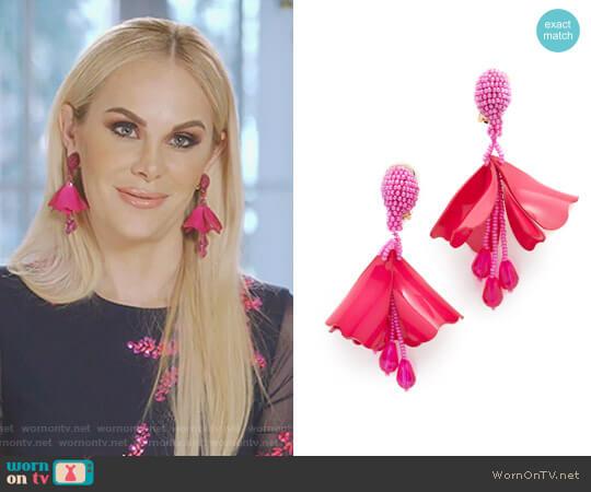 Impatiens Flower Earrings by Oscar de la Renta worn by Kameron Westcott on The Real Housewives of Dallas