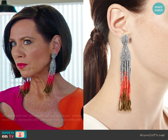 Oscar de la Renta Ombre Crystal Tassel Earrings worn by Diana Trout on Younger