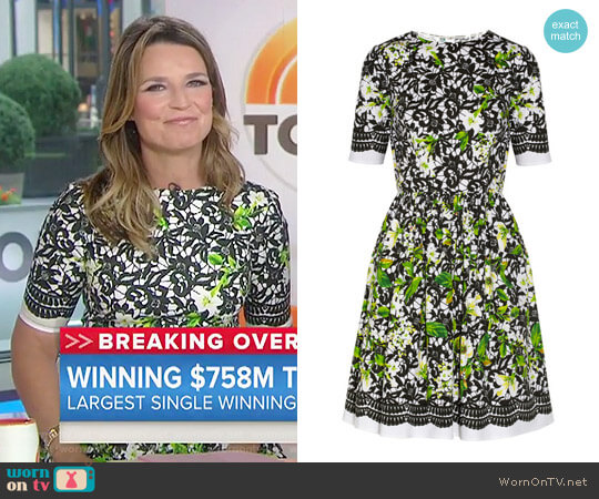 Printed Stretch Cotton Poplin Dress by Oscar de la Renta worn by Savannah Guthrie on Today