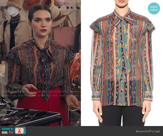 Philosophy Di Lorenzo Serafini Floral-printed Silk-georgette Blouse worn by Katie Stevens on The Bold Type