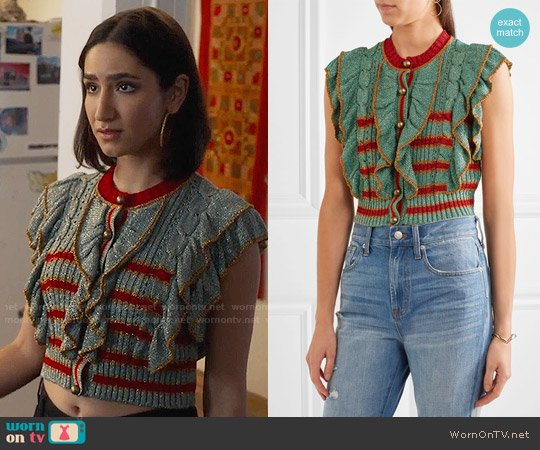 Philosophy di Lorenzo Serafini Cropped metallic knitted sweater worn by Nikohl Boosheri on The Bold Type