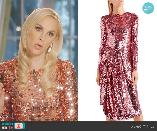 Carlin Asymmetric Sequined Tulle Midi Dress by Preen by Thornton Bregazzi worn by Kameron Westcott on The Real Housewives of Dallas