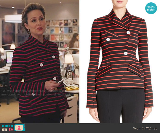 Proenza Schouler Striped Jacquard Jacket worn by Melora Hardin on The Bold Type