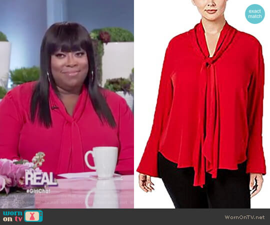 Bell Sleeve Tie Neck Blouse by Rachel Rachel Roy worn by Loni Love on The Real