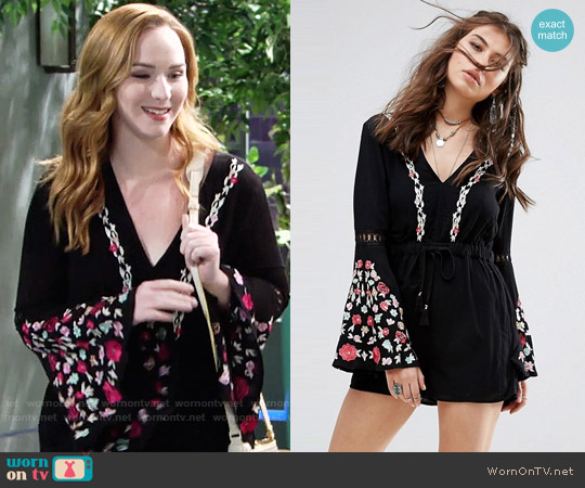 Rahi Cali Poppy Romance Romper worn by Camryn Grimes on The Young & the Restless