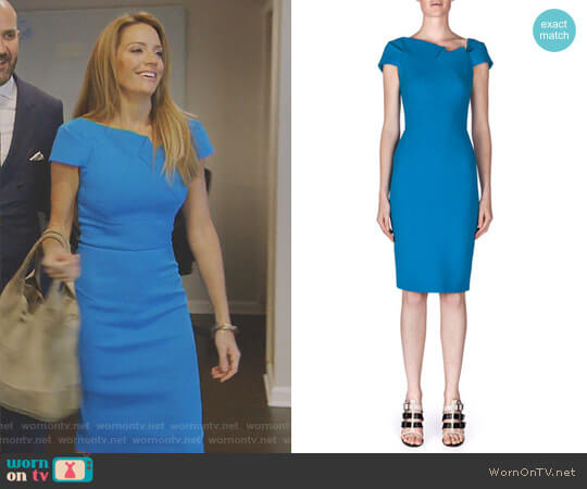 Lepas Fold-Pleated Crepe Dress by Roland Mouret worn by Cary Deuber on The Real Housewives of Dallas