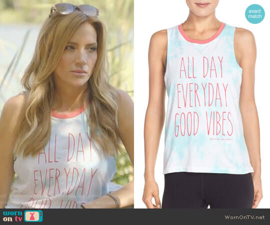 'Good Vibes All Day' Muscle Tee by Spiritual Gangster worn by Cary Deuber on The Real Housewives of Dallas
