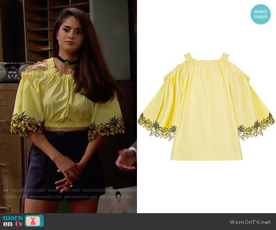 Sandro Embroidered Cold Shoulder Top worn by Danube Hermosillo on The Bold & the Beautiful