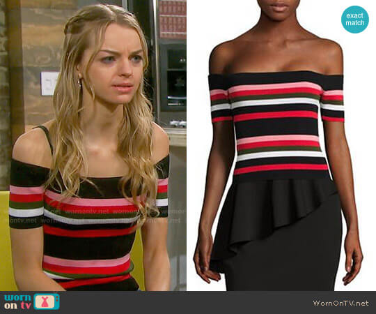 Scripted Off-The-Shoulder Striped Rib-Knit Top worn by Olivia Rose Keegan on Days of our Lives