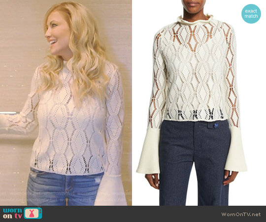 Bell-Sleeve Crochet Top by See by Chloe worn by Stephanie Hollman (Stephanie Hollman) on The Real Housewives of Dallas