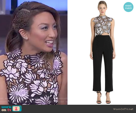 Liac Lace & Crepe Jumpsuit by Self Portrait worn by Jeannie Mai on The Real