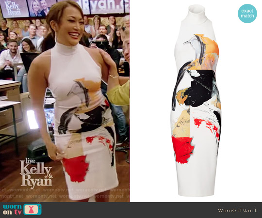 White Print Dakota Sheath by Solace London worn by Carrie Ann Inaba on Live with Kelly and Ryan