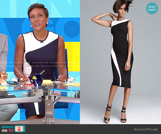 Wave Colorblock Black and White Stretch Jersey Dress by Stella McCartney worn by Robin Roberts on Good Morning America