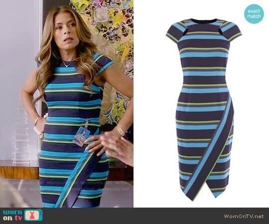 Karen Millen Striped Asymmetric Pencil Dress worn by Kara Lynch (Lisa Vidal) on Being Mary Jane