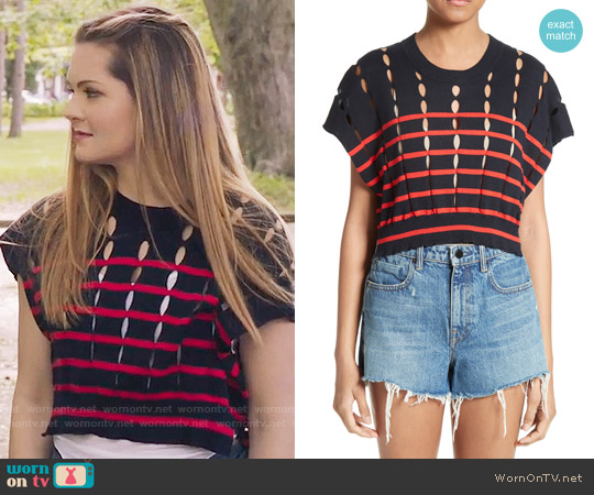 T by Alexander Wang Stripe Knit Pullover worn by Meghann Fahy on The Bold Type