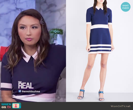 Colour by Numbers origami striped knitted dress by Ted Baker worn by Jeannie Mai on The Real
