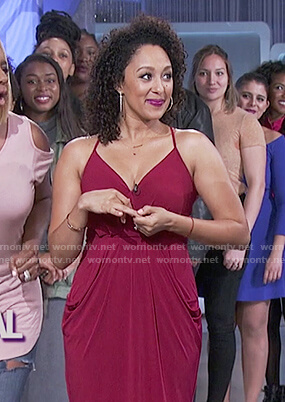 Tamera's burgundy midi dress with pockets on The Real